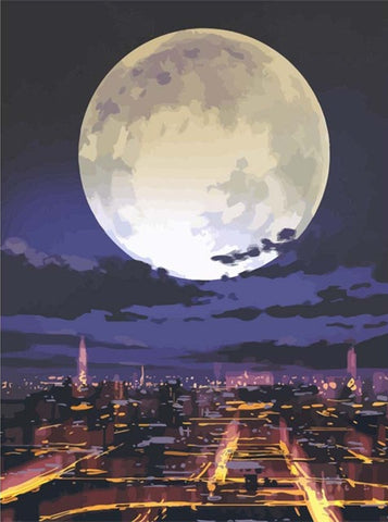 Full Moon On City- Landscape Paint By Numbers