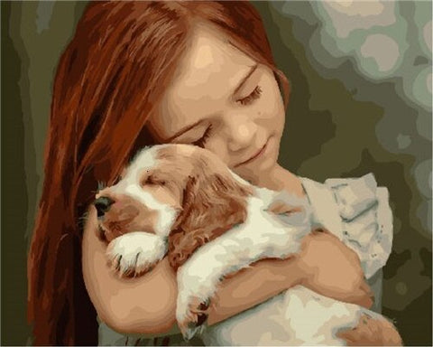 Girl And Her Puppy- People Paint By Numbers