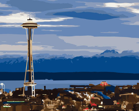 Space Needle Tower in Washington - Cities Paint By Numbers