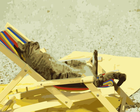 Cat Relaxing in Chair - Animals Paint By Numbers