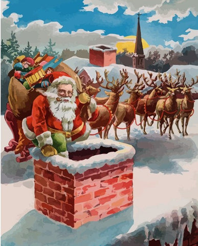 Santa Claus On the Roof - People Paint By Numbers