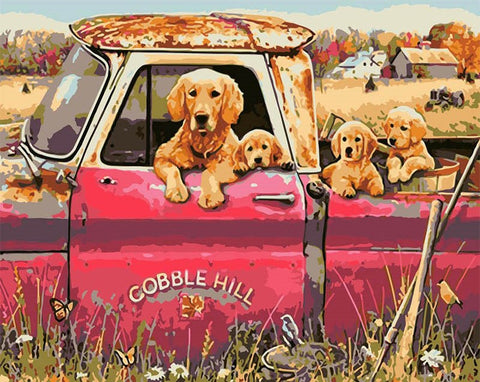 Dogs In Trucks - Animals Paint By Numbers