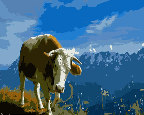 Dairy Cow in Mountain Peak  - Animals Paint By Numbers
