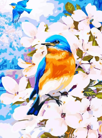 Blue Birds Flower- Birds Paint By Numbers