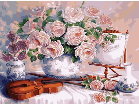 Flowers and Violin -  Flowers Paint By Numbers