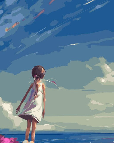 Girl Staring at the Sky - People Paint By Numbers