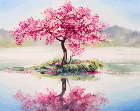 Cherry Tree on Lake - Landscape Paint By Numbers