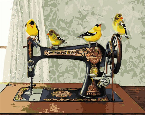 Bird On Sewing Machine- Birds Paint By Numbers