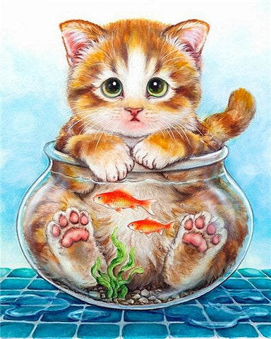 Cat In Fish Bowl - Animals Paint By Numbers