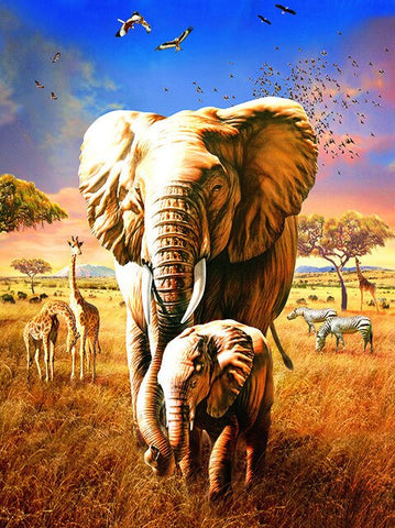 Elephant Mother and Her Son - Animals Paint By Numbers