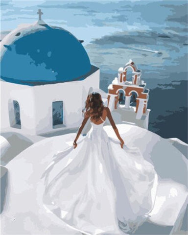 The Santorini Bride  - Cities Paint By Numbers