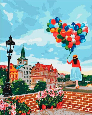Girl balloons in Seville - Cities Paint By Numbers