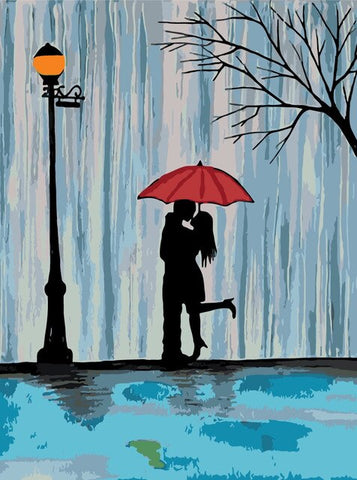 Couple Kissing in the Rain- Romance and Love Paint By Numbers