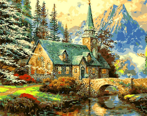 Church on Mountain and River- Landscape Paint By Numbers