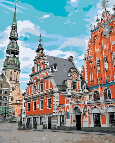 House of the Blackheads in Riga - Cities Paint By Numbers