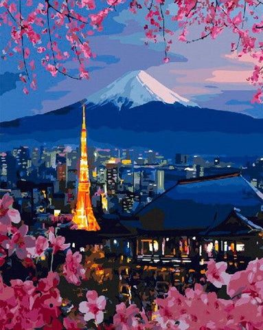 Tokyo tower and Mt. Fuji - Cities Paint By Numbers