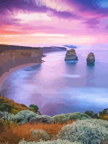 Spectacular View To The purple Bay- Landscape Paint By Numbers
