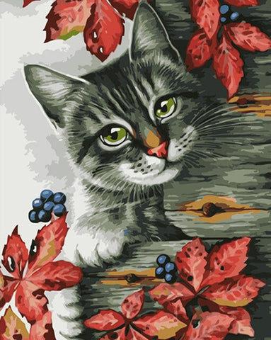 Cat On Tree Trunk- Animals Paint By Numbers