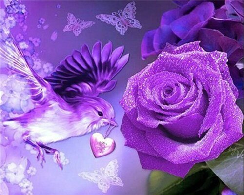 Purple Flowers And Bird Flowers Paint By Numbers Numeral Paint