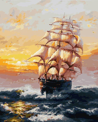 Ship Crosses The Ocean- Seascape Paint By Numbers