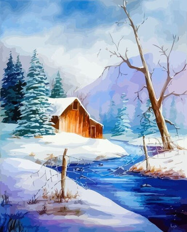 Cabin Severe Winter - Landscape Paint By Numbers