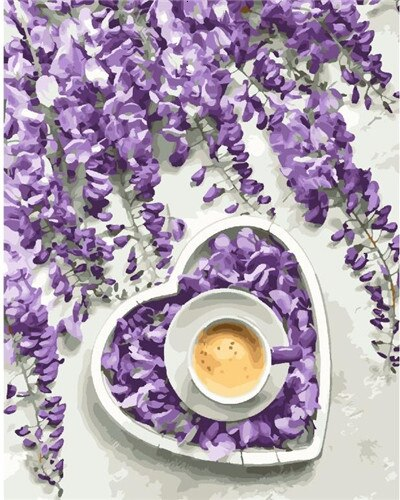 Purple Flower And A Cup Of Coffee Flowers Paint By Numbers