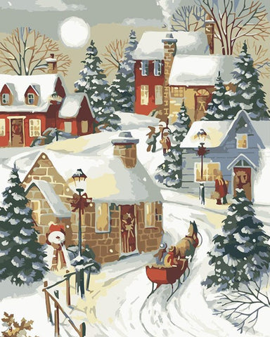 Village Sleigh Ride Christmas - Cities Paint By Numbers