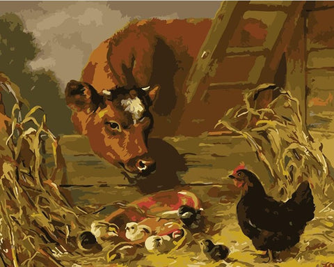 Cows and Chickens- Animals Paint By Numbers