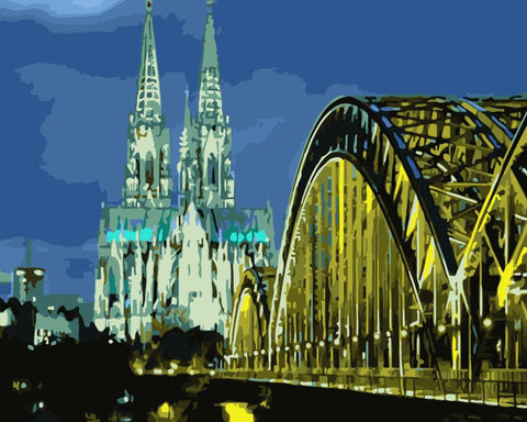 Cologne Night View  - Cities Paint By Numbers