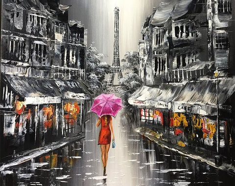 Lady Walking On The Street of Paris- Cities Paint By Numbers