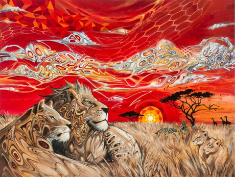 Lion Couple In High Heat - Animals Paint By Numbers