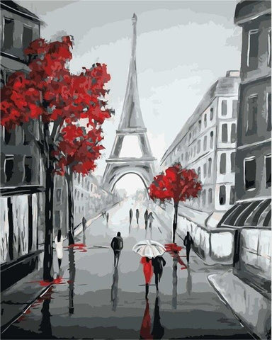 Paris Street View in Black and Red- Cities Paint By Numbers