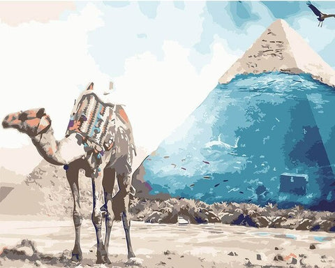 Camel Pyramid - Animals Paint By Numbers