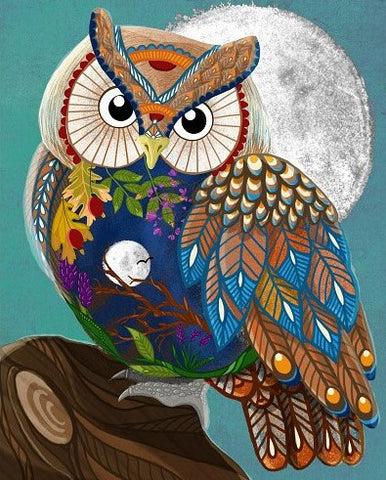 Owl and Full Moon - Birds Paint By Numbers