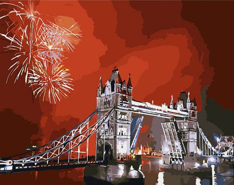 London Tower Bridge Fireworks- Cities Paint By Numbers