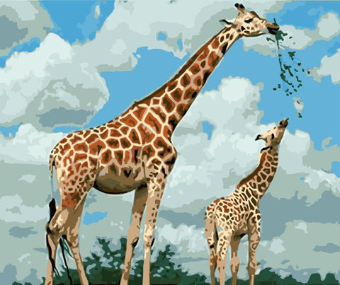 Blue Sky With Two Giraffes- Animals Paint By Numbers