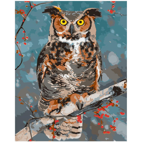 Plum Owl on a Branch - Birds Paint By Numbers