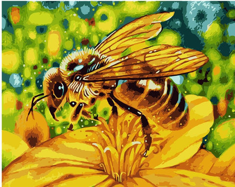 Yellow Flower With a Bee - Animals Paint By Numbers