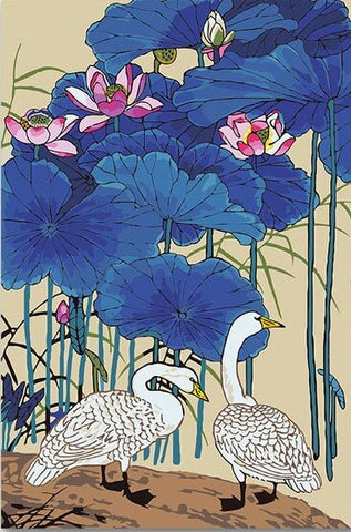 Duck Lotus Flower - Birds Paint By Numbers