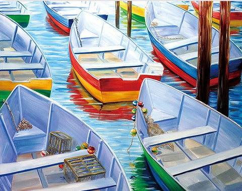 Colorful Boats- Seascape Paint By Numbers