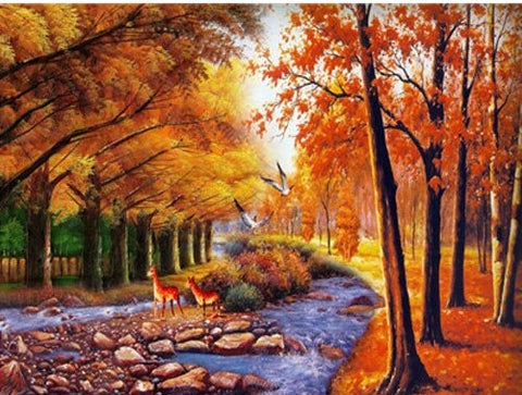 Autumn Tree Forest  - Landscape Paint By Numbers