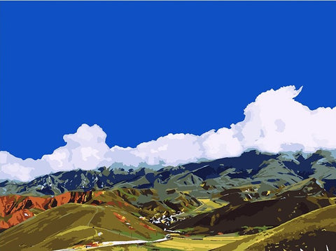 Hill And Blue Sky - Landscape Paint By Numbers