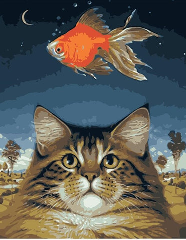 Golden Cat and Fish - Animals Paint By Numbers