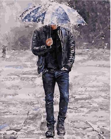 Gentleman In Rainy Day- People Paint By Numbers