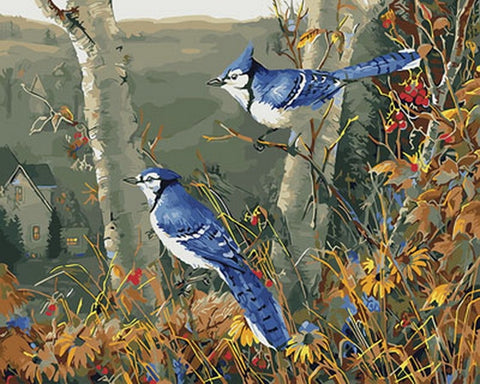 Blue Bird in the Forest - Birds Paint By Numbers
