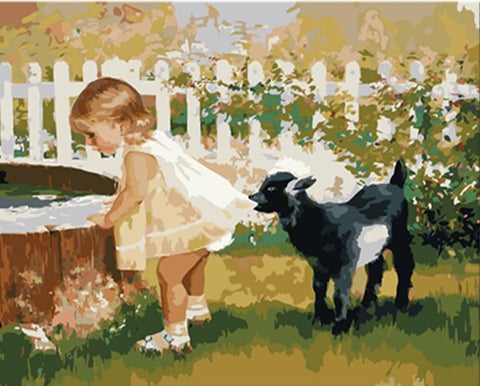 Little Black Sheep And Little Girl - People Paint By Numbers