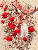 Deer And Red Rose  - Animals Paint By Numbers