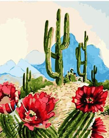 Desert Cactus - Flowers Paint By Numbers