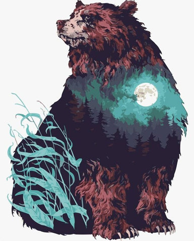 Moon Shadow Brown Bear  - Animals Paint By Numbers