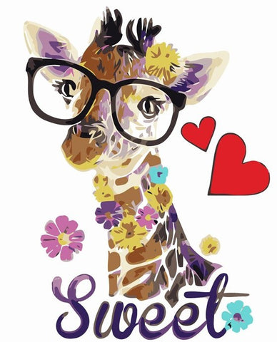 Glasses Giraffe - Animals Paint By Numbers